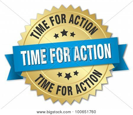 Time For Action 3D Gold Badge With Blue Ribbon