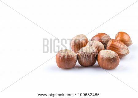 Hazelnuts On White