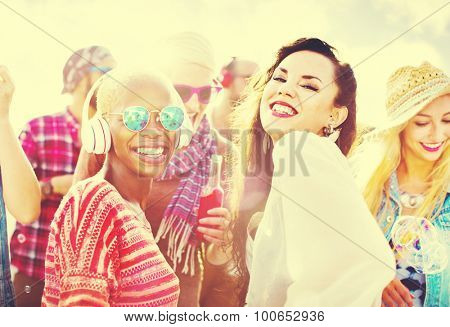 Beach Party Music Dancing Friendship Summer Concept