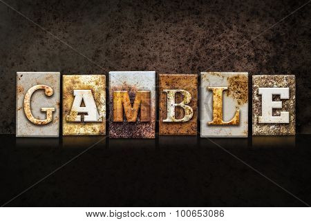 Gamble Letterpress Concept On Dark Background