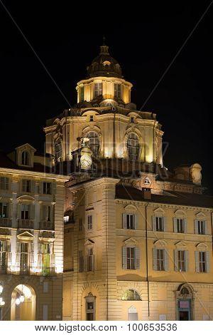 Church Of San Lorenzo By Night - Turin Italy
