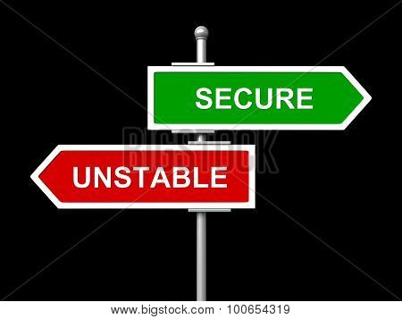 Secure And unstable Road Signs
