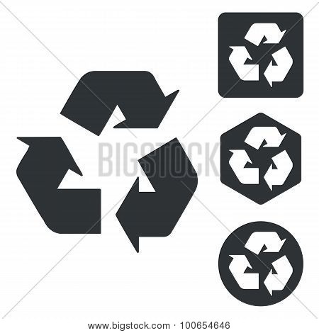 Recycling sign icon set, monochrome
