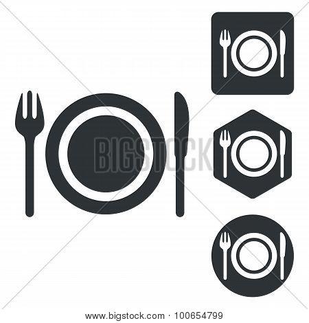 Dishware icon set, monochrome