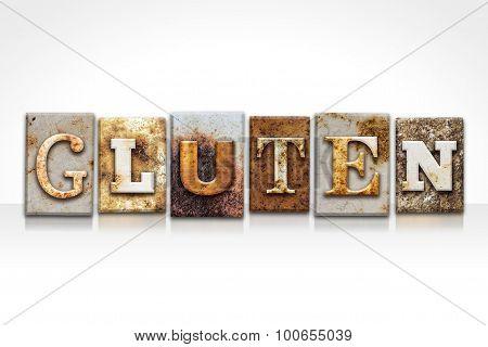 Gluten Letterpress Concept Isolated On White