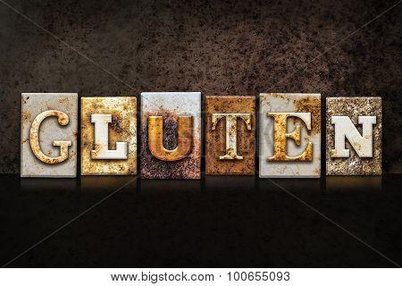 Gluten Letterpress Concept On Dark Background
