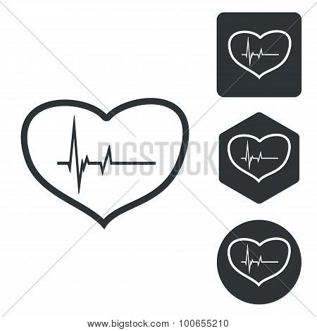 Cardiology icon set, monochrome
