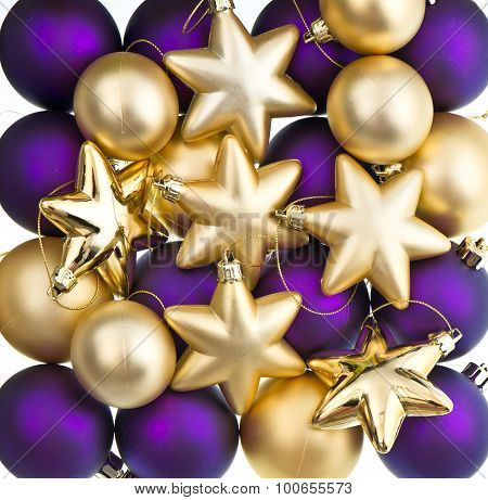 Christmas Decoration. Lila And Golden Baubles, Balls, Stars