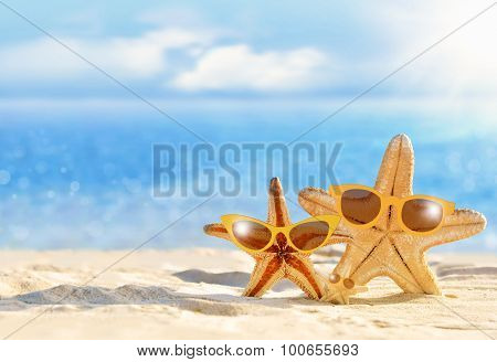 Starfish in sunglasses on the seashore. Beach.