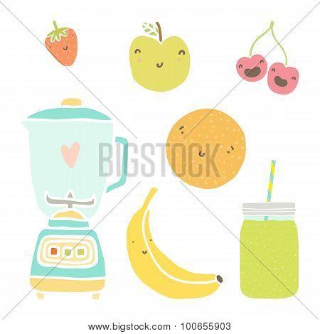 Vector hand drawn isolated fruits, blender and mason jar.