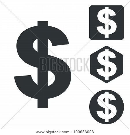 Dollar icon set, monochrome