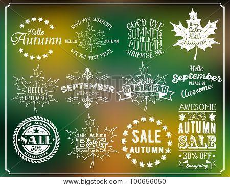 Hello Autumn And Hello September Vintage Labels. Autumn Sale Labels