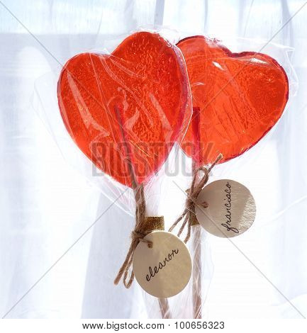 heart lollypops white background brown string