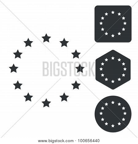European Union icon set, monochrome