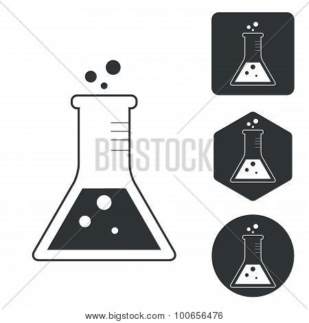 Conical flask icon set, monochrome