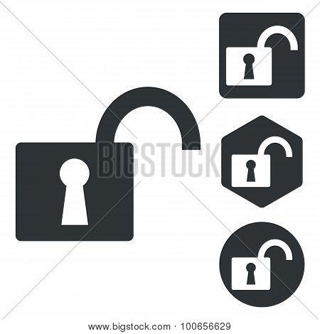 Unlocked icon set, monochrome