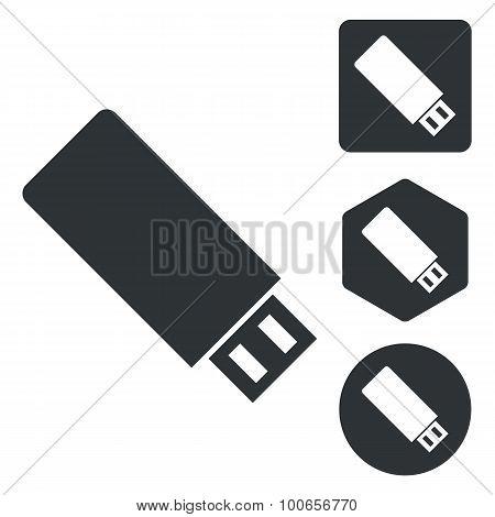 USB stick icon set, monochrome