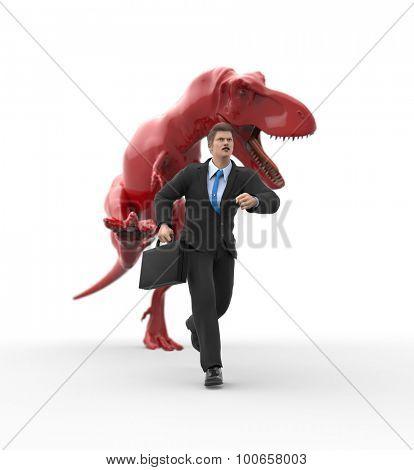 businessman running away from a dinosaur