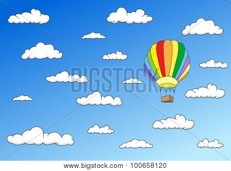 Colorful Balloon In The Sky. Horisontal Image