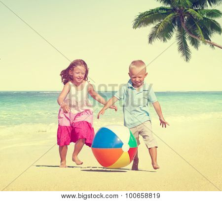 Children Playing Happiness Cheerful Beach Summer Concept