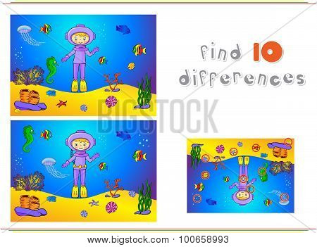 Cute Cartoon Scuba Diver And Fish Under Water. Seahorse, Jellyfish, Coral And Starfish On The Ocean