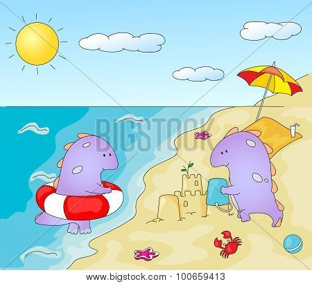 Lovely Imaginary Dragons Splashing In The Water And Building A Sand Castle On The Sea Shore