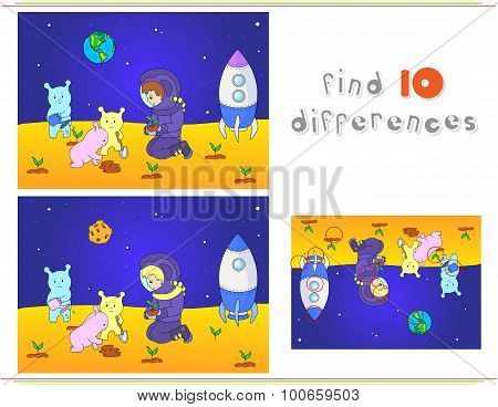 Cute And Friendly Aliens And Astronaut Watering The Plants On The Planet. Rocket Is Standing On The