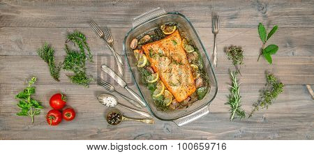 Baked Salmon Trout Fish With Fresh Herbs And Spices