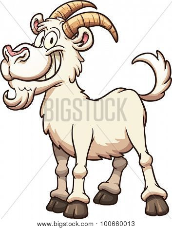 Happy cartoon goat. Vector clip art illustration with simple gradients, all in a single layer.