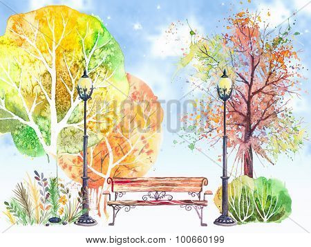 Autumn background with trees,lanterns and bench