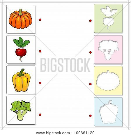 Pumpkin, Radishes, Peppers And Broccoli. Educational Game For Kids