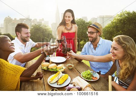 Friends Outdoors Party Celebration Hanging out Concept
