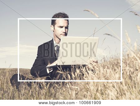 Businessman working in the field.