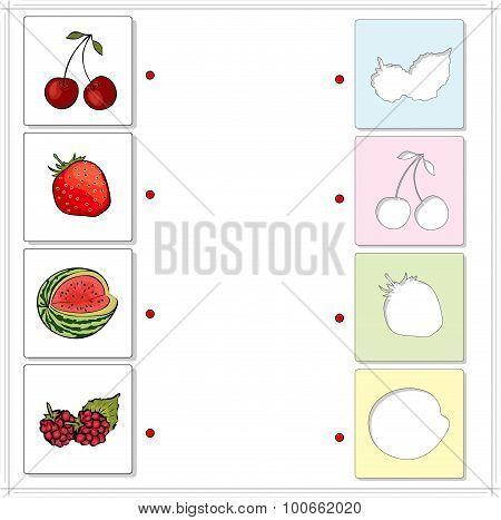 Watermelon, Raspberries, Cherries And Strawberries. Educational Game For Kids