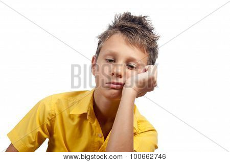 Boy Looking Bored. All On White Background.