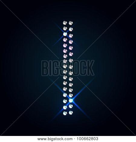 Gems I letter. Shiny diamond font.