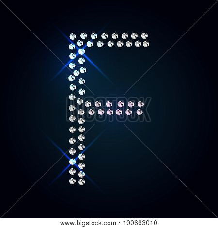 Gems F letter. Shiny diamond font.