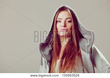 Portrait Of Pretty Teenager Girl In Hood.
