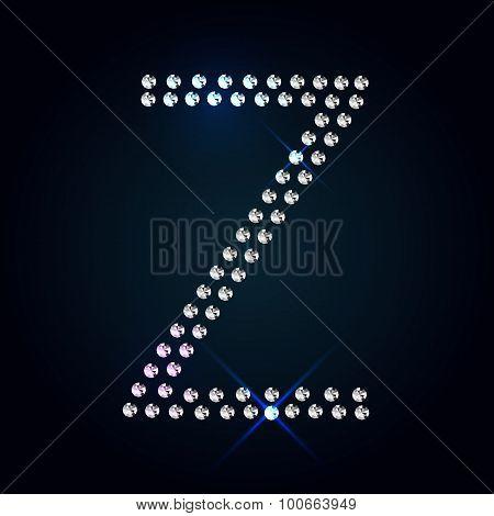 Gems Z letter. Shiny diamond font.