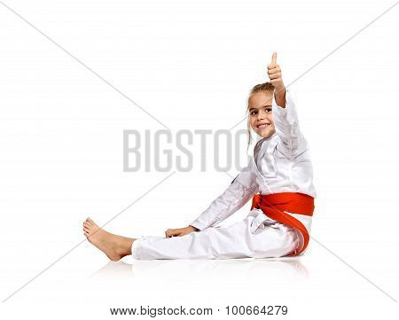Girl In A Kimono Showing Thumb Up