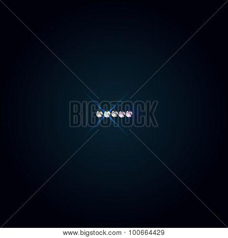Gems symbol. Shiny diamond font.