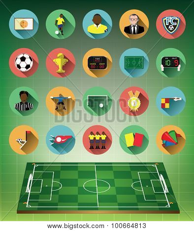 Green 3d soccer field with flat soccer icons set