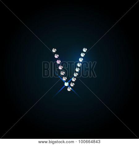 Gems  letter. Shiny diamond font.