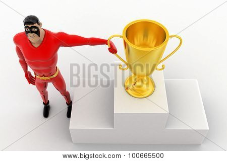 3D Superhero With Top 3 And Winner Award Cup Concept