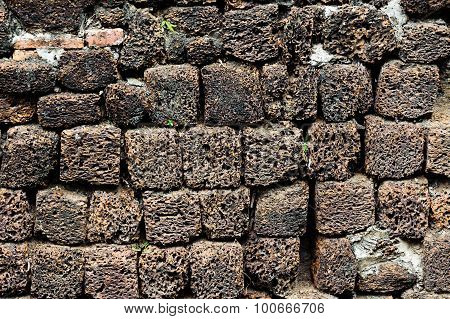 Stone Wall Made Of Volcanic Pumice Rock