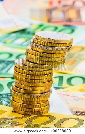 single stack of money coins photo icon for financial planning, investment, investment risk