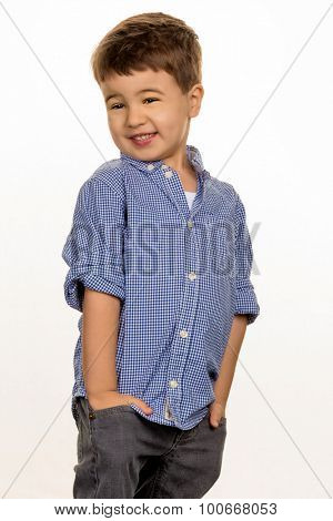 little boy in pose, symbolizing childhood, cunning, cleverness
