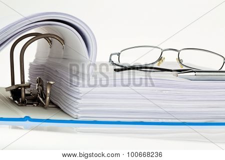 a file folder with documents and documents. storage contracts.