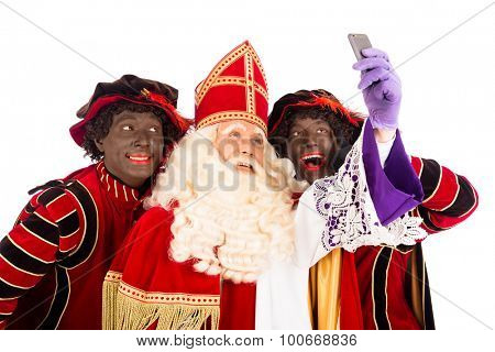 Sinterklaas and Zwarte Piet making selfie. isolated on white background. Dutch character of Santa Claus