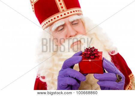 Sinterklaas with gifts . typical Dutch characterof Sint and Zwarte Piet
